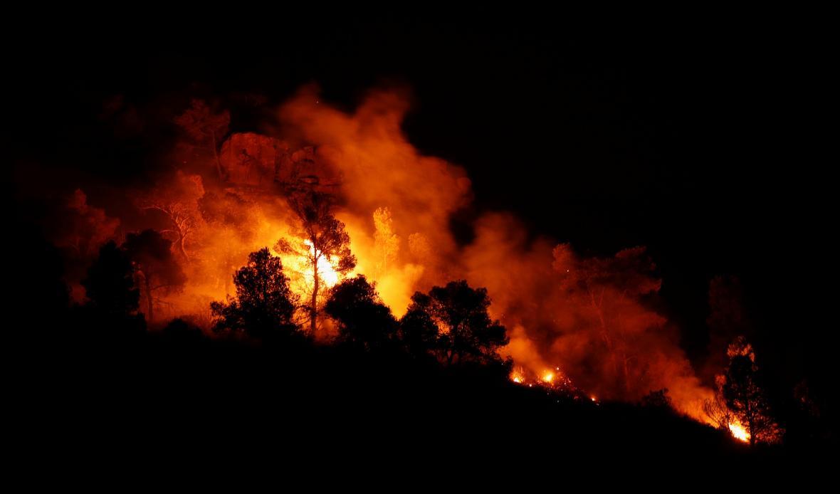 Lesní požár v Katalánsku