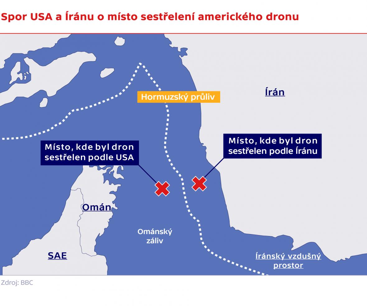 Spor USA a Íránu o místo sestřelení amerického dronu