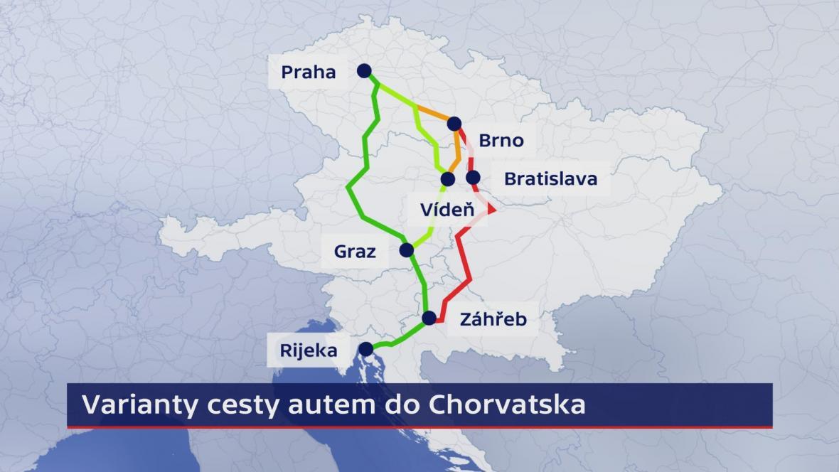 Varianty cesty autem z ČR do Chorvatska