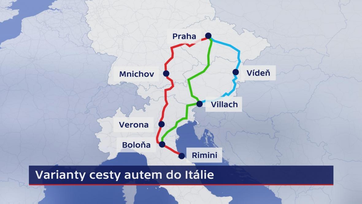 Varianty cesty autem z ČR do Itálie