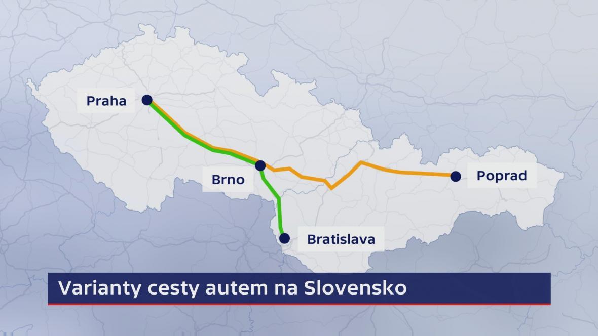 Varianty cesty autem z ČR na Slovensko