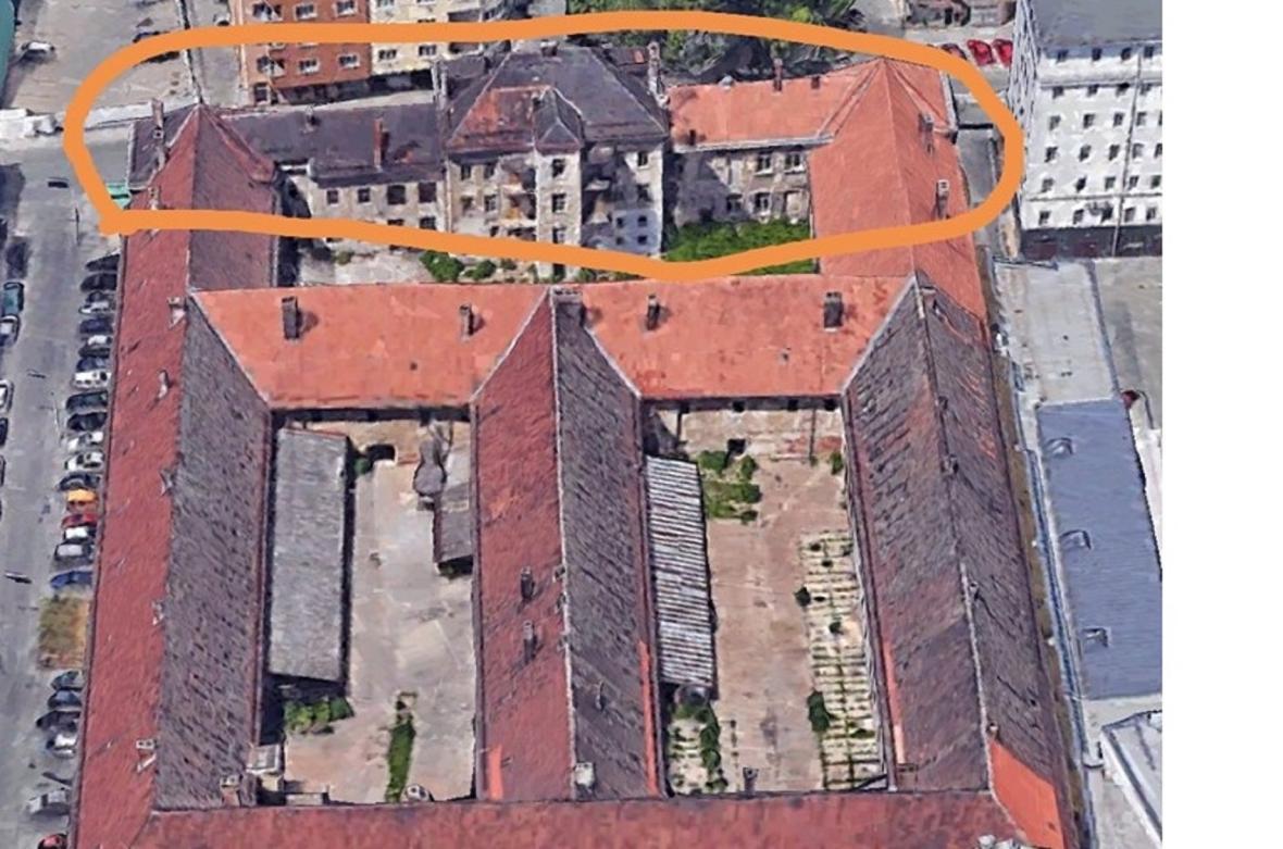Vyznačená část věznice určená k demolici