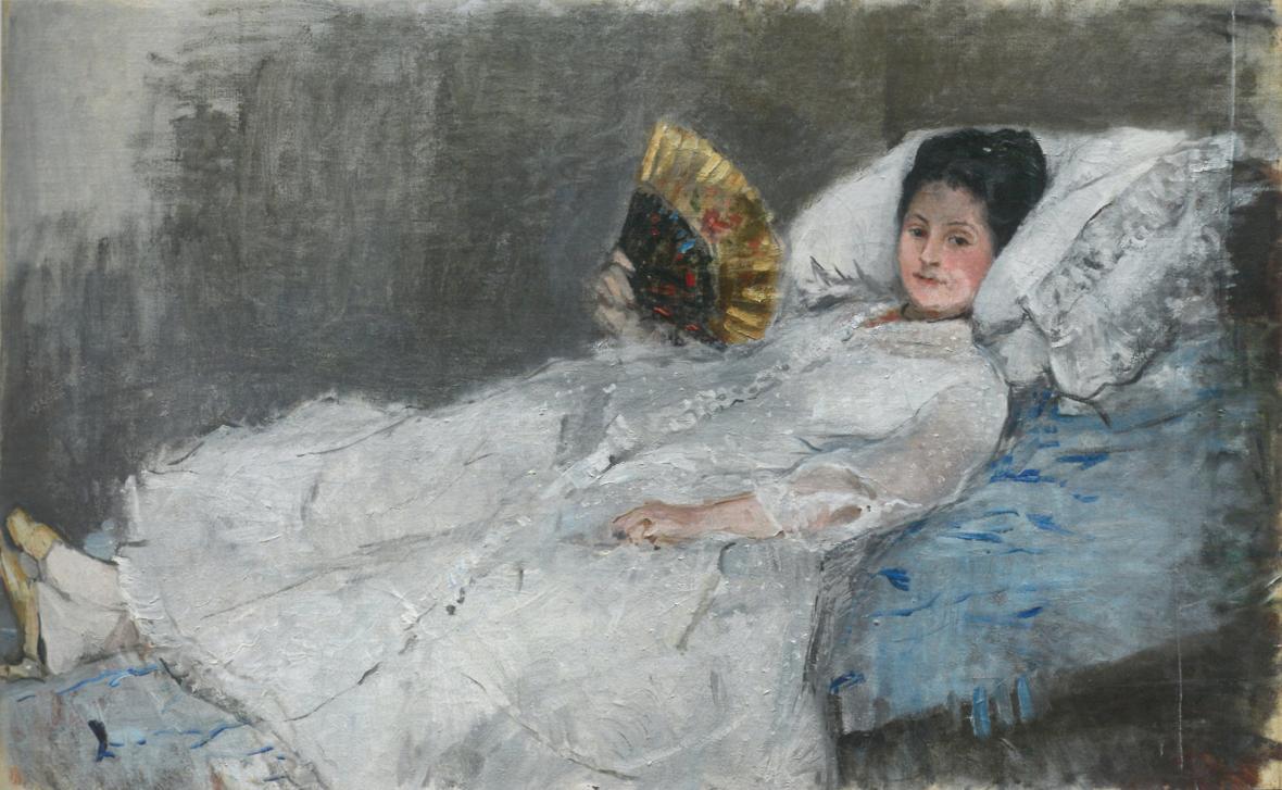 Berthe Morisot / Žena s vějířem. Portrét paní Marie Hubbard, 1874