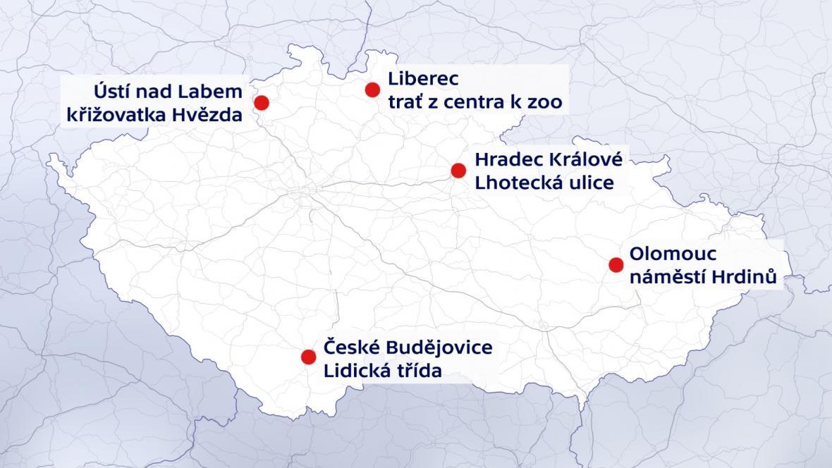Velké prázdninové uzavírky v krajských městech (kromě Prahy, Brno, Ostravy a Plzně)