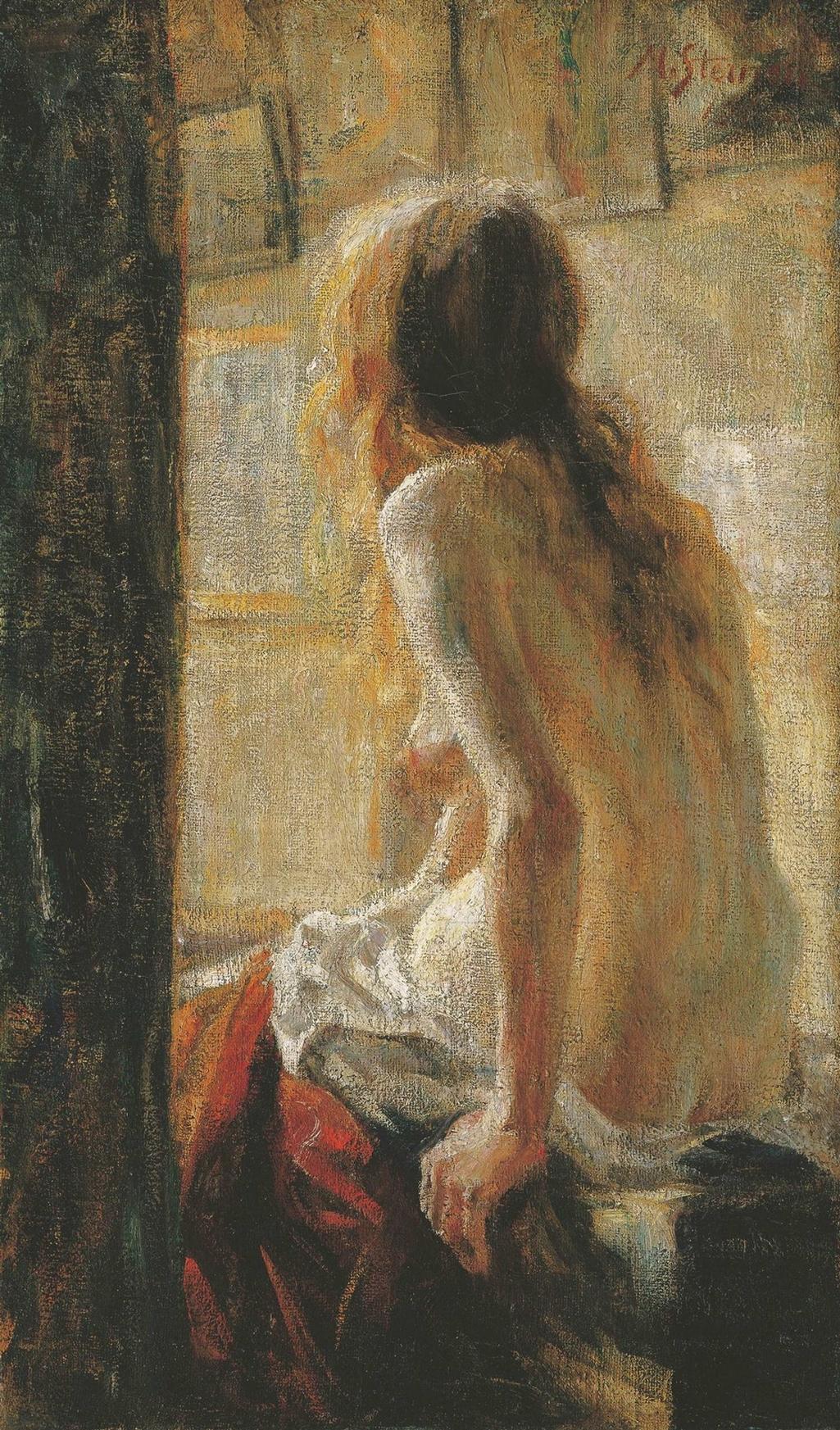 Matej Sternen / Sedící ženský akt (Zrzka), 1902