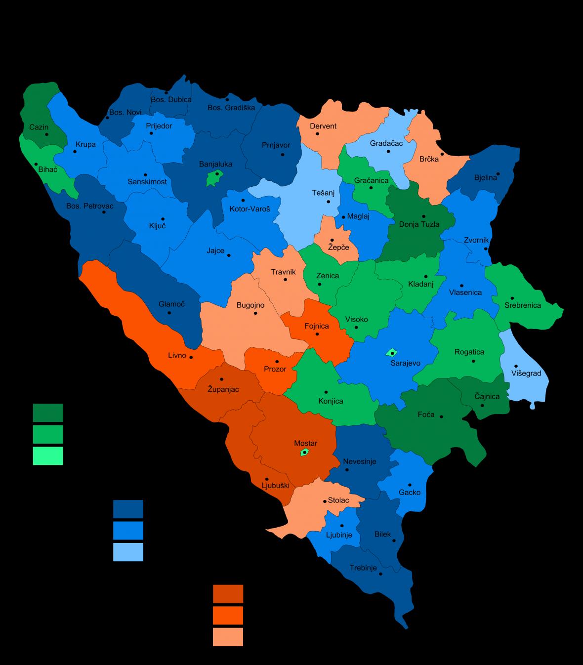Etnické složení Bosny a Hercegoviny v roce 1895. Zelená značí většinu Muslimů, modrá Srbů a červená Chorvatů