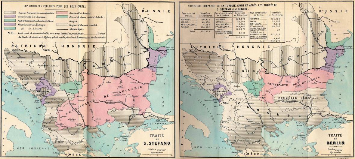 Balkán po Sanstefanské smlouvě (vlevo) a po Berlínském kongresu