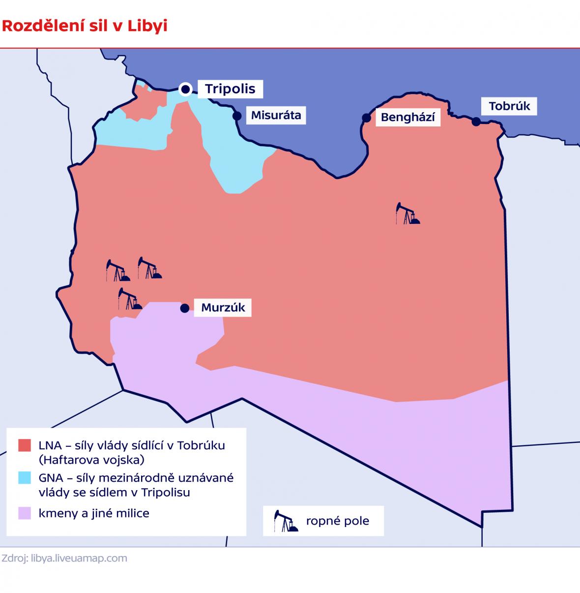 Rozdělení sil v Libyi