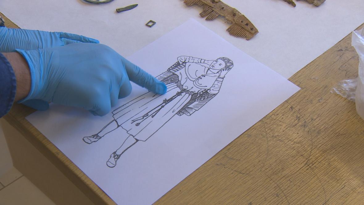 Oděv, který mohli nosit Germáni pohřbení u Sendražic