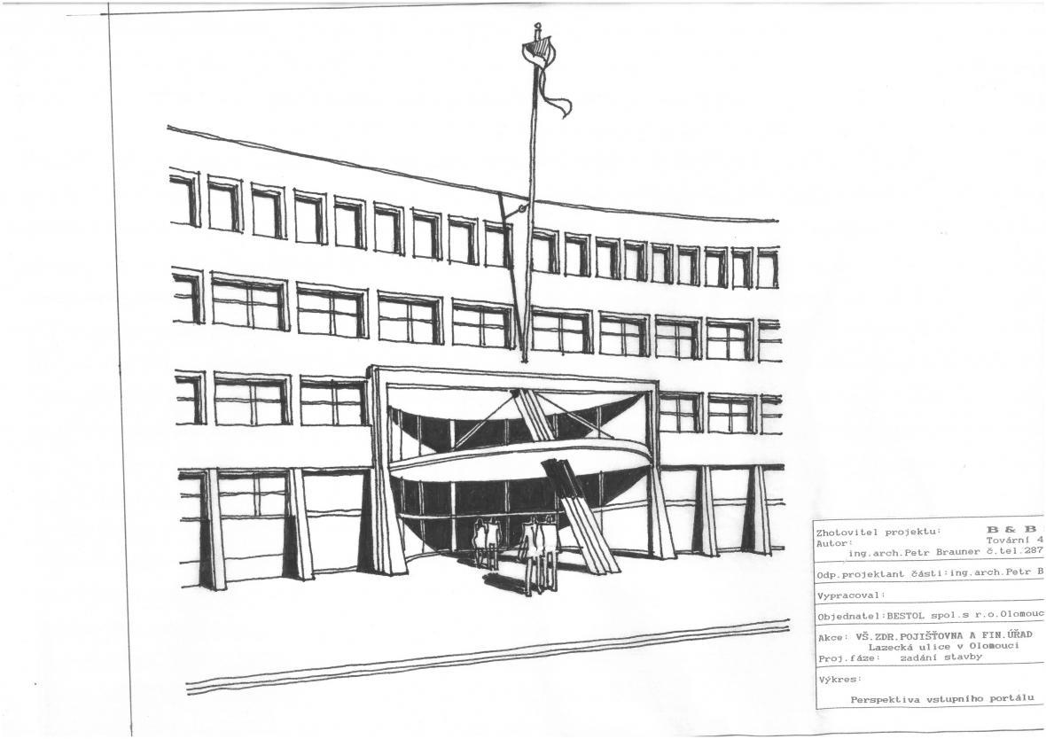 Finanční úřad a Všeobecná zdravotní pojišťovna v Olomouci (Petr Brauner, architektonická spolupráce Jarmila Braunerová), 1994–1996