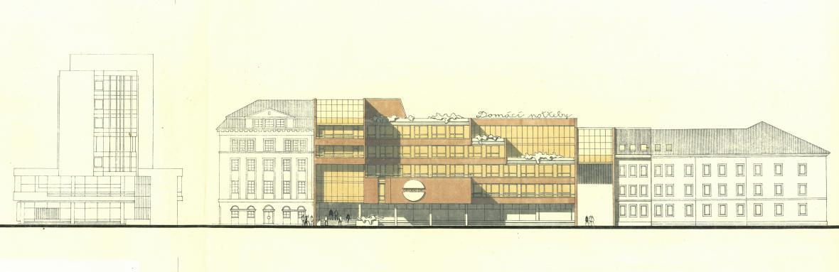 Studie administrativní budovy n. p. Domácí potřeby, Státního divadla Oldřicha Stibora a Geodézie v olomoucké proluce mezi divadlem a dnešním hotelem Trinity, 1981