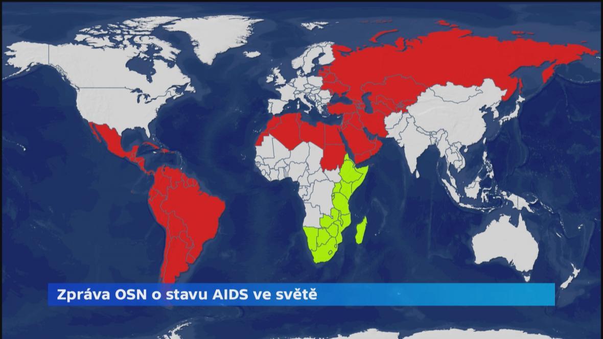 AIDS ve světě (zelené: země, kde počet nakažených klesá; červeně: země, kde počet nakažených stoupá)