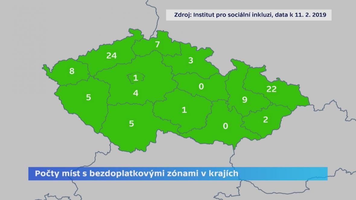 Počet měst s bezdoplatkovými zónami v krajích