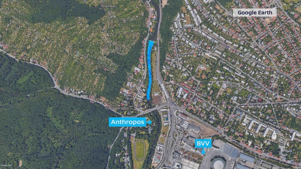 Plánovaný kanál na řece Svratce