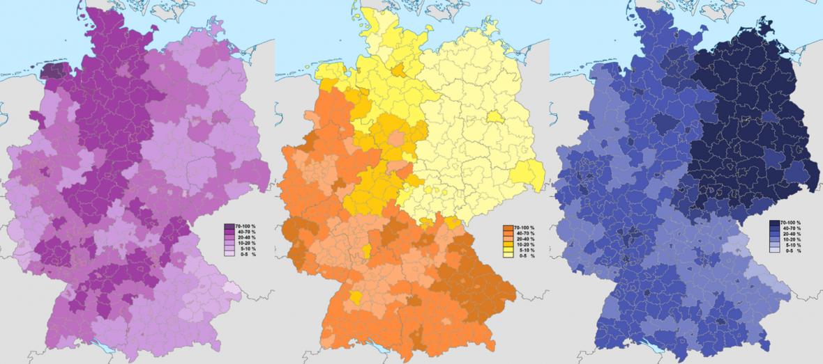 Podíl protestantů (fialová), katolíků (žlutá) a nevěřících (modrá) v německých regionech podle sčítání lidu roku 2011