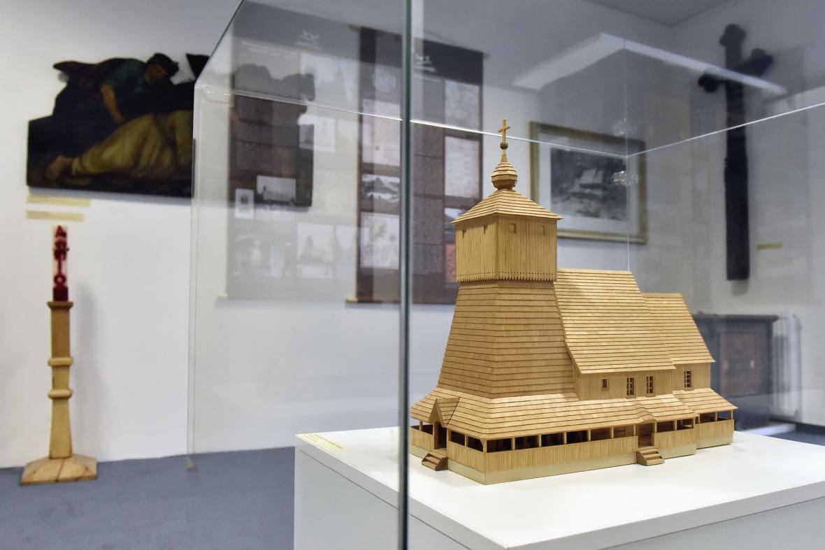Model vyhořelého kostela Božího Těla v Třinci-Gutech