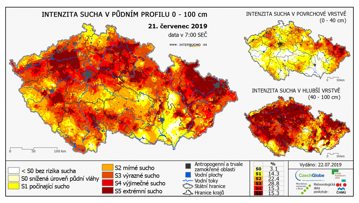 Mapa sucha - 21. července 2019
