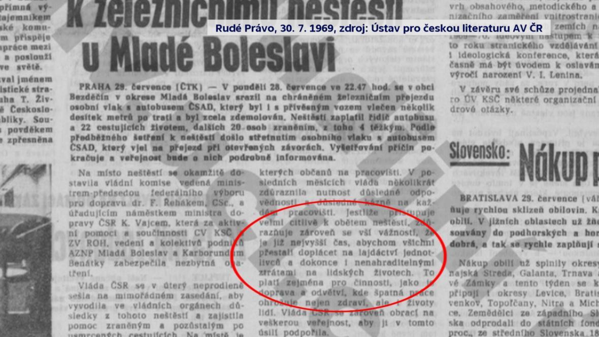 Článek v tehdejším Rudém Právu o nehodě v Bezděčíně