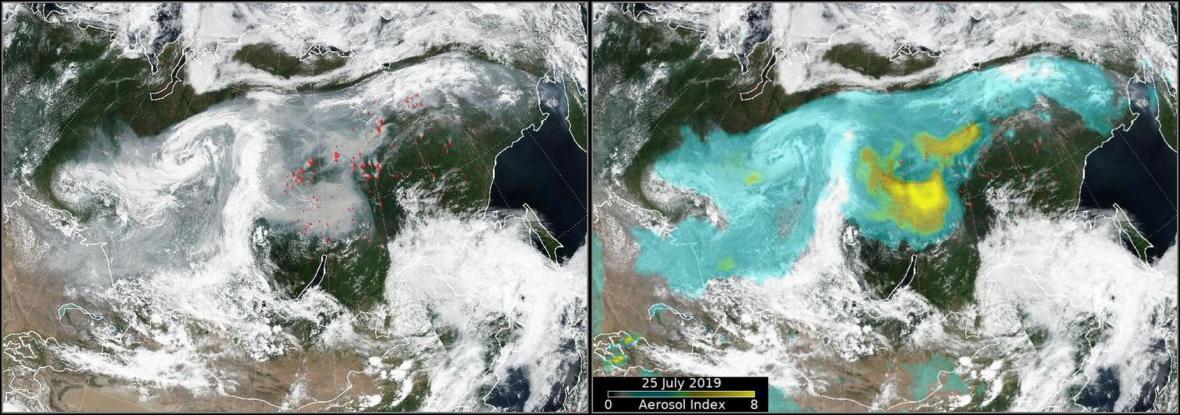 Satelitní snímek požárů na Sibiři