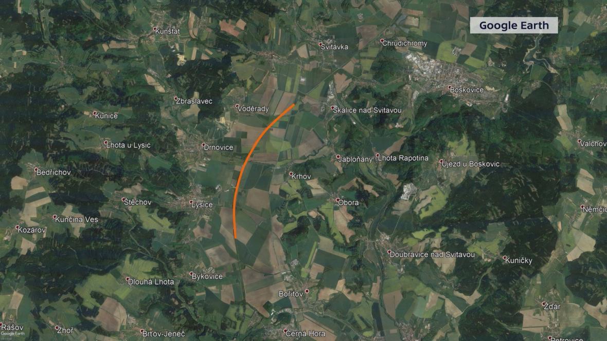 Trasa plánované střední části z Bořitova do Svitávky
