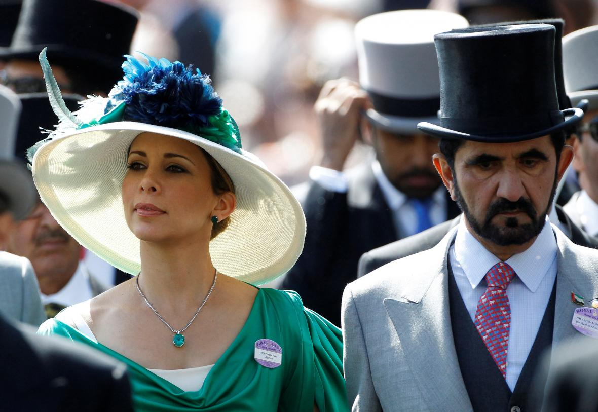 Princezna Hája s šajchem Muhammadem bin Rašídem Maktúmem na dostizích v Ascotu