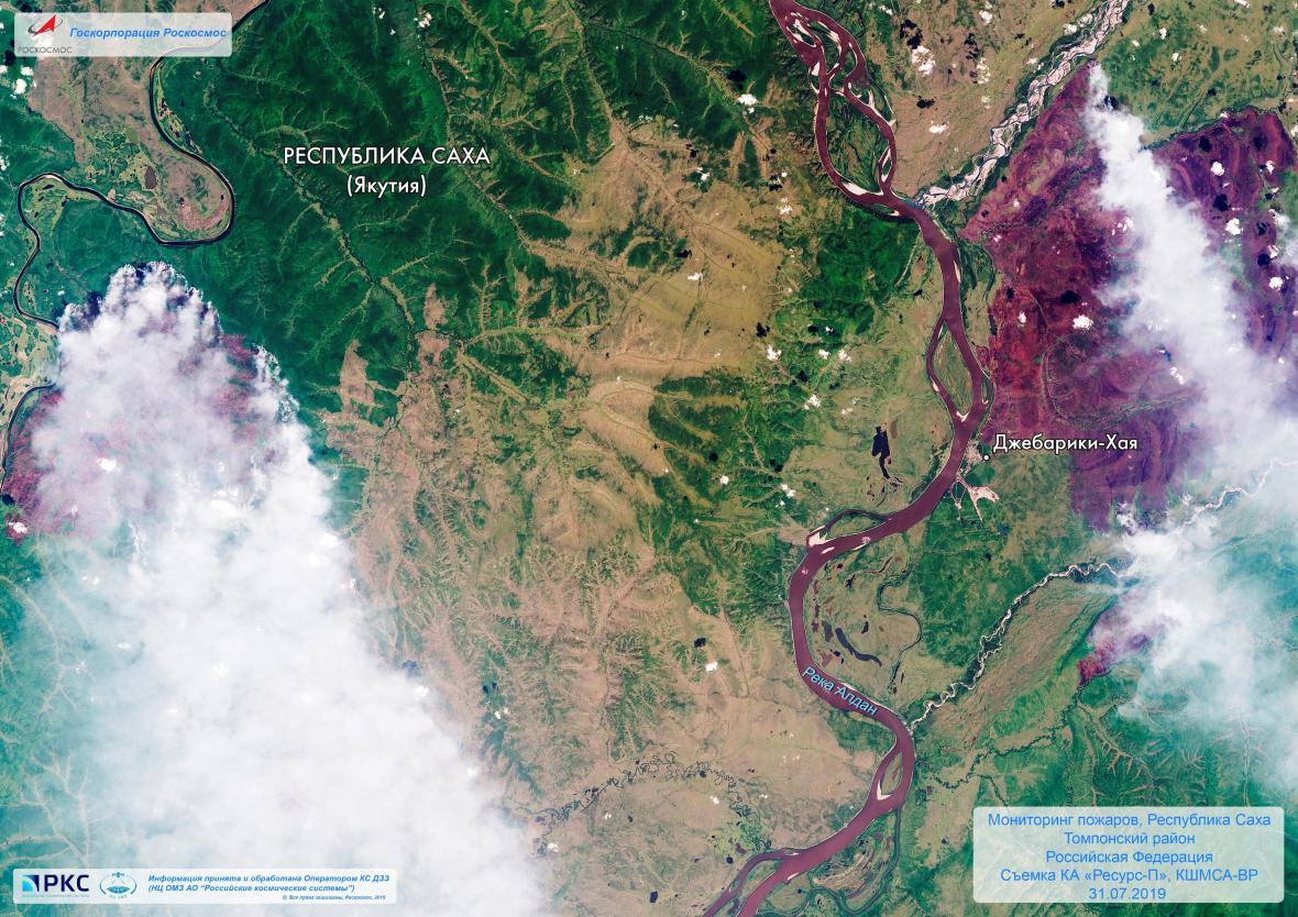 Satelitní snímek hořící Sibiře