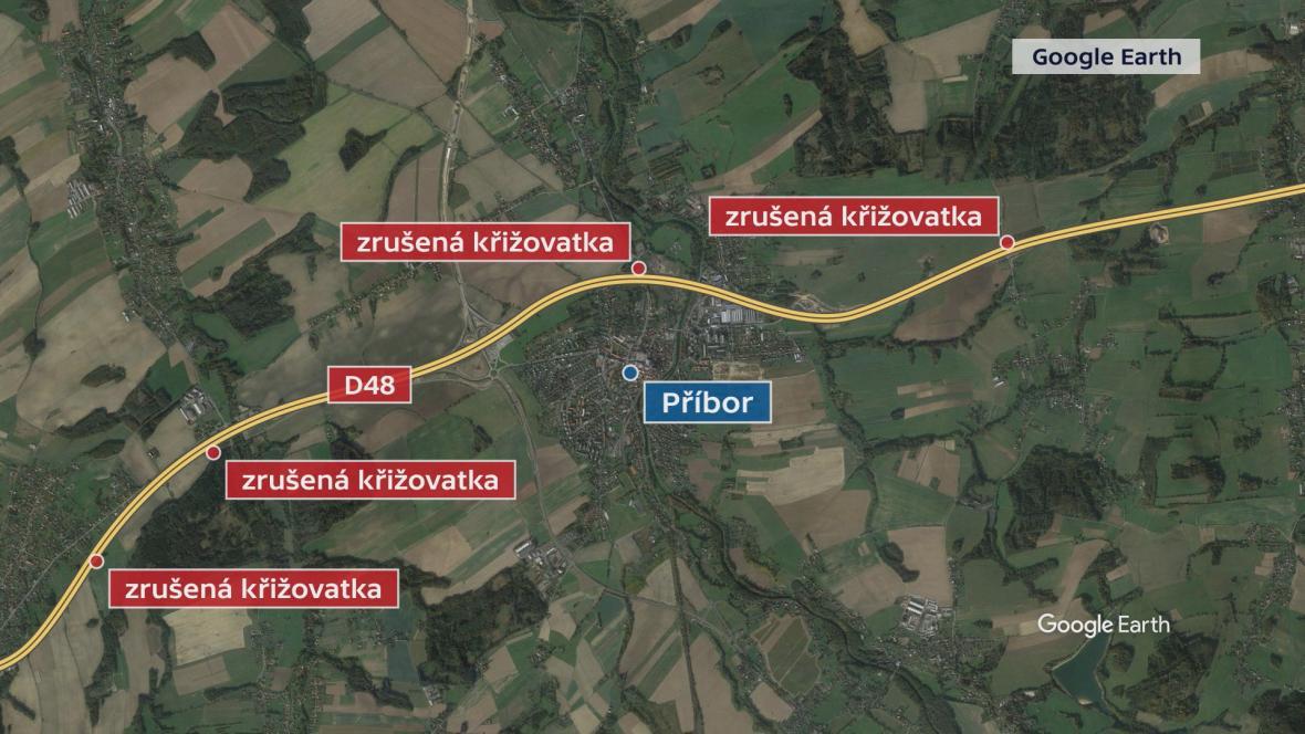 Zrušené křižovatky na dálnici D48