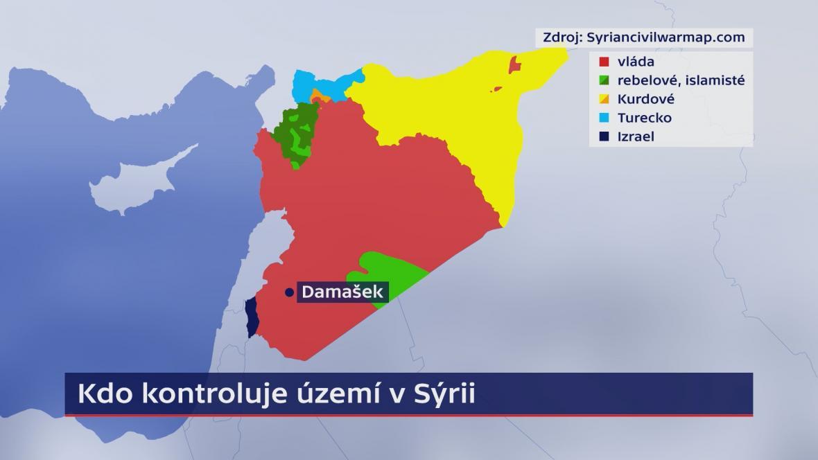 Rozložení sil v Sýrii (srpen 2019)