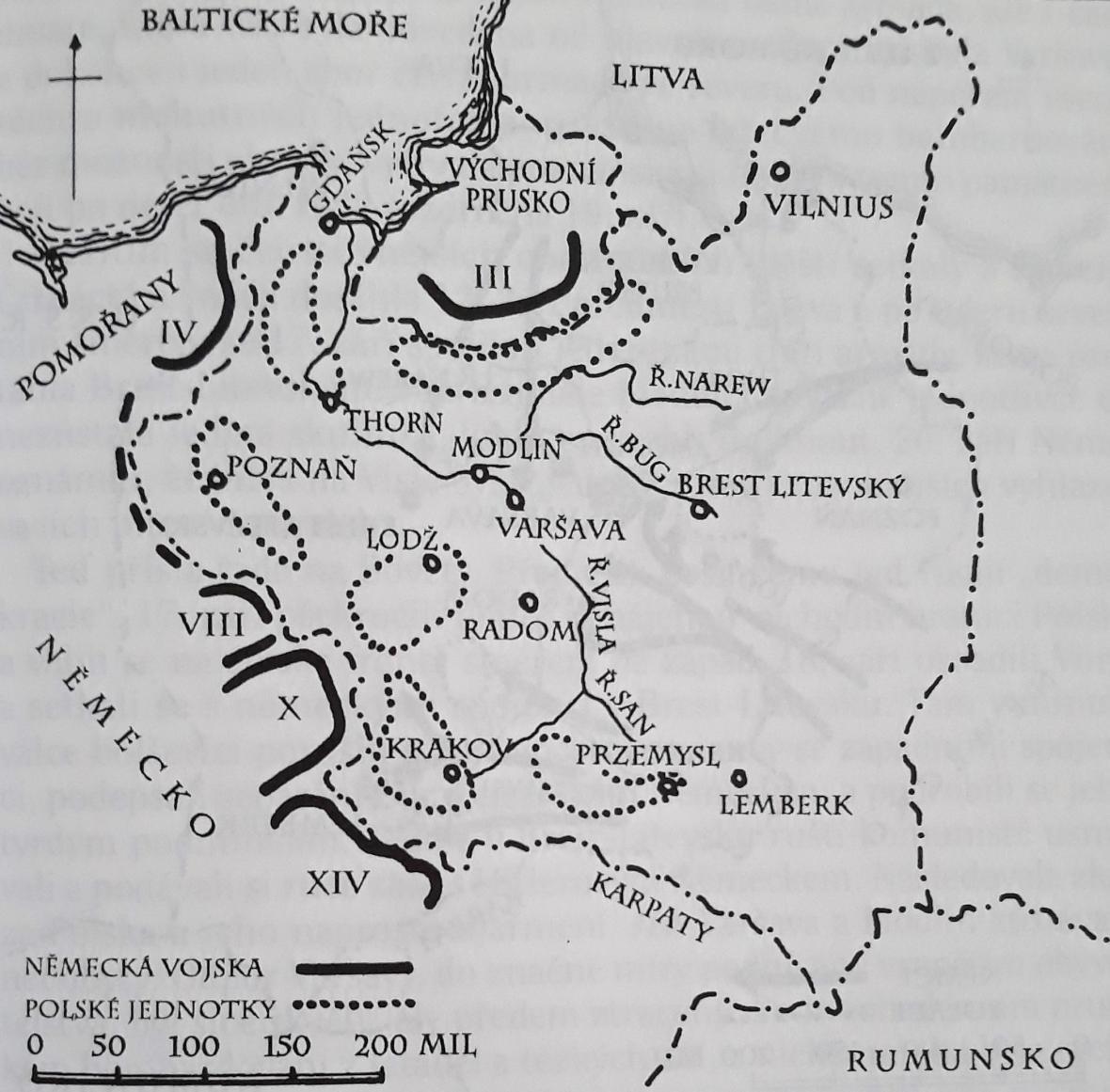 Rozestavení německých a polských vojsk těsně před invazí