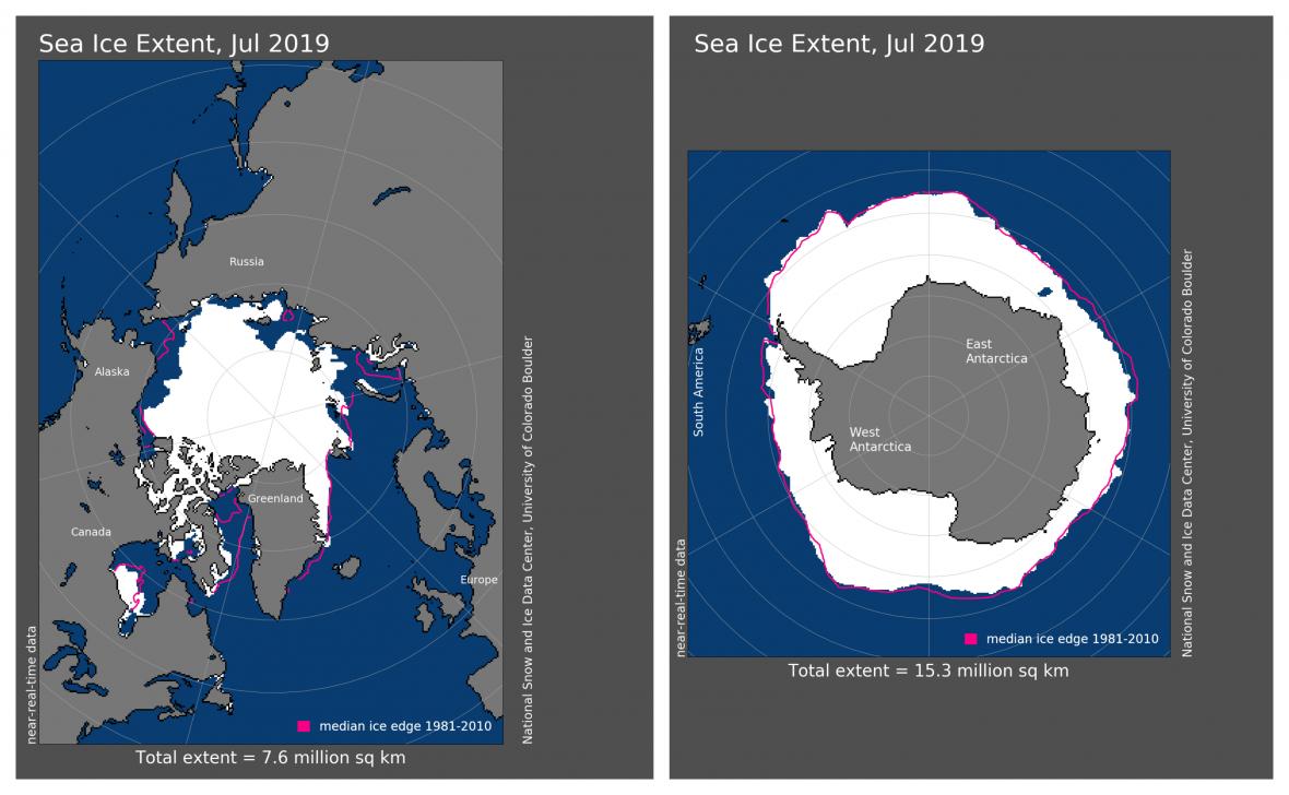 Červeně jsou vyznačené průměrné hranice ledu, bíle ty letošní