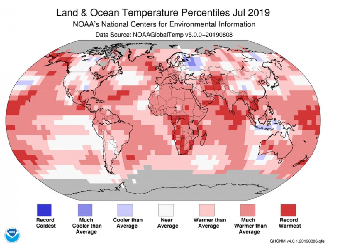 Teploty v červenci 2019 vůči průměrům