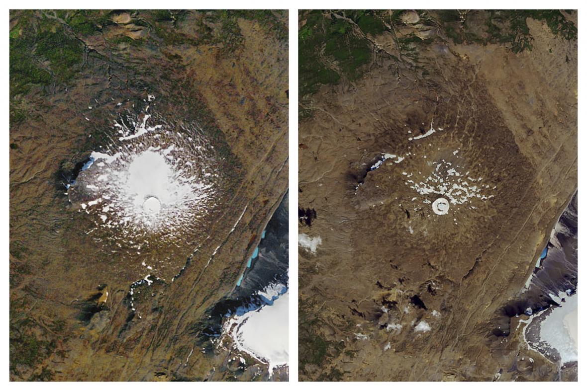 Snímky ledovce Okjokull ze 14. září 1986 a z 1. srpna 2019