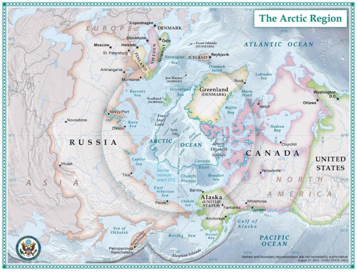Severní ledový oceán s přiléhajícími státy. Zleva po směru hodinových ručiček Rusko, Norsko, Island, dánské Grónsko, Kanada, USA (Aljaška)