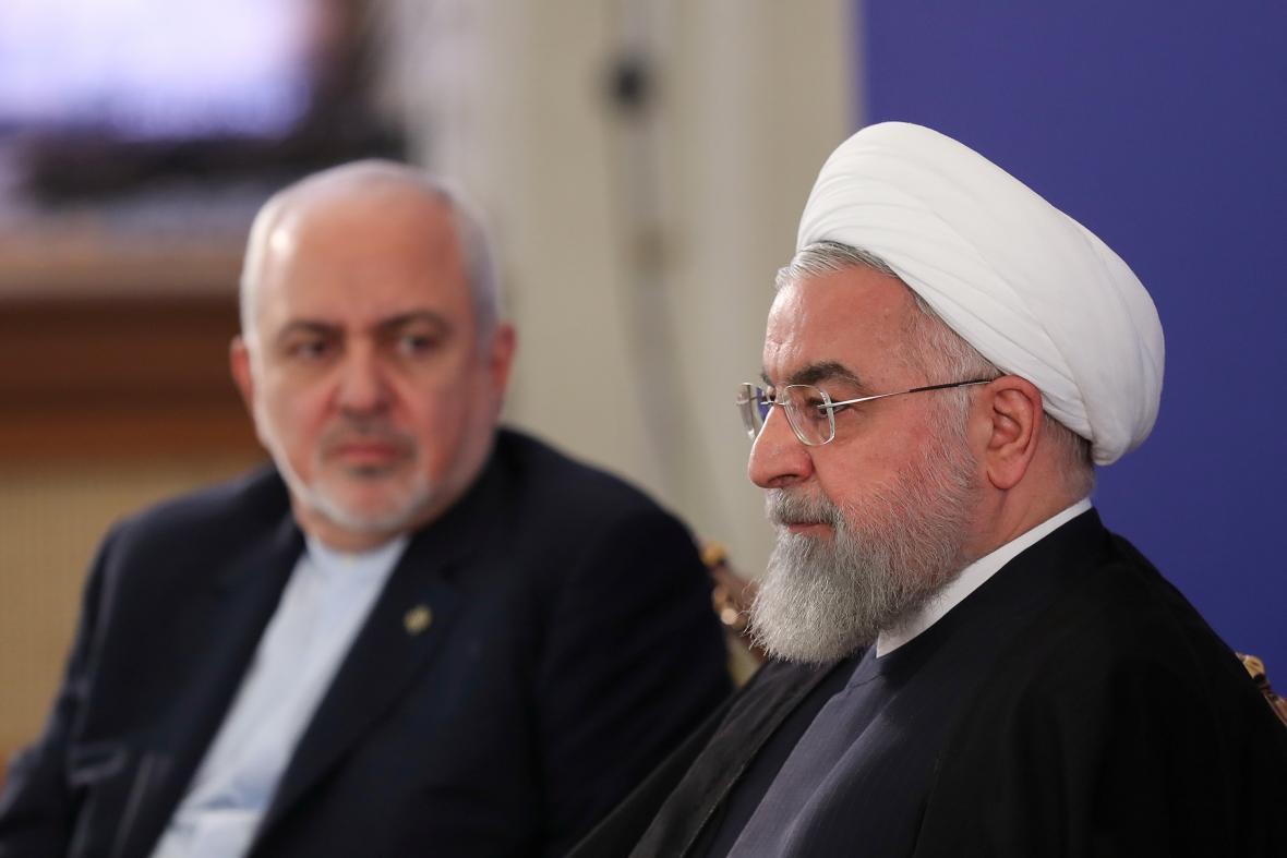 Džavád Zaríf s íránským prezidentem Hasanem Rouháním