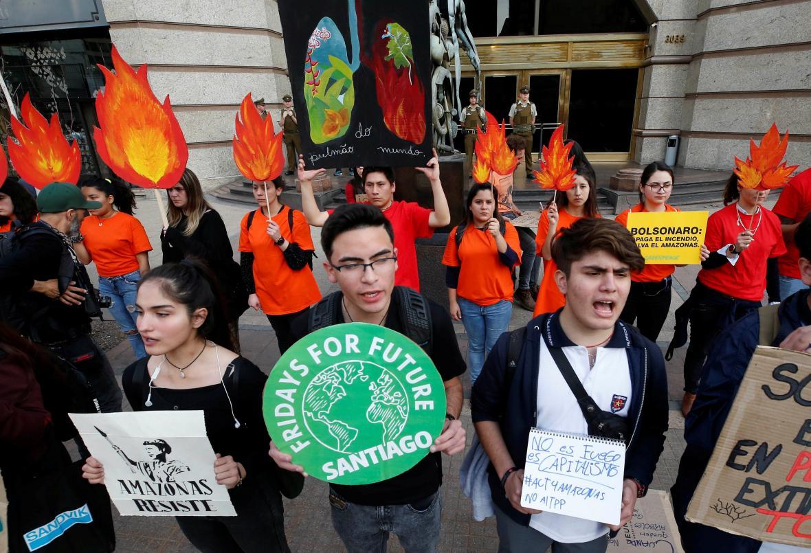 Protest kvůli požárům v Amazonii