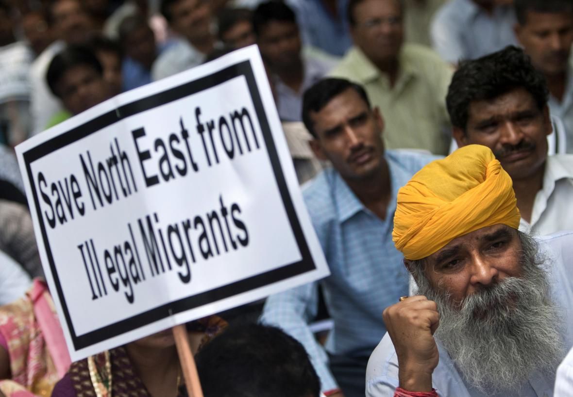 Protest proti nelegální imigraci v Indii