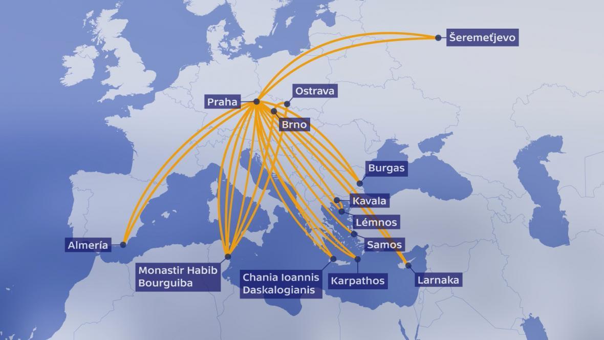 Mapa následných cest letounu společnosti Smartwings