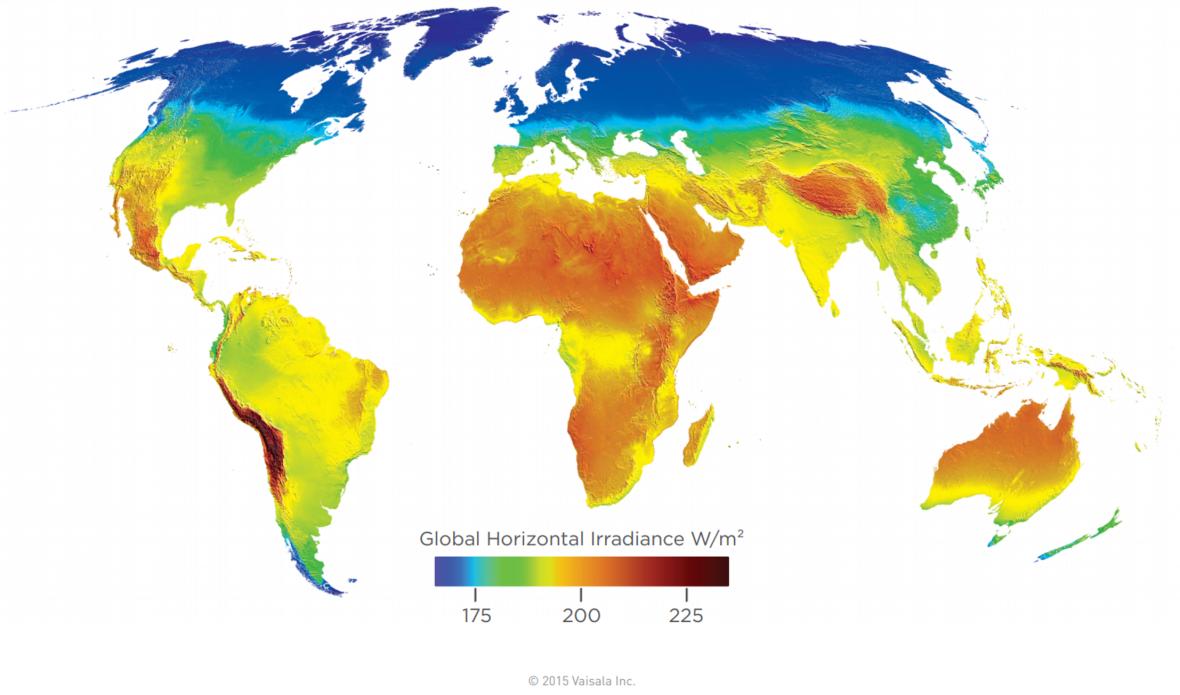 Síla slunečního svitu ve wattech na metr čtvereční