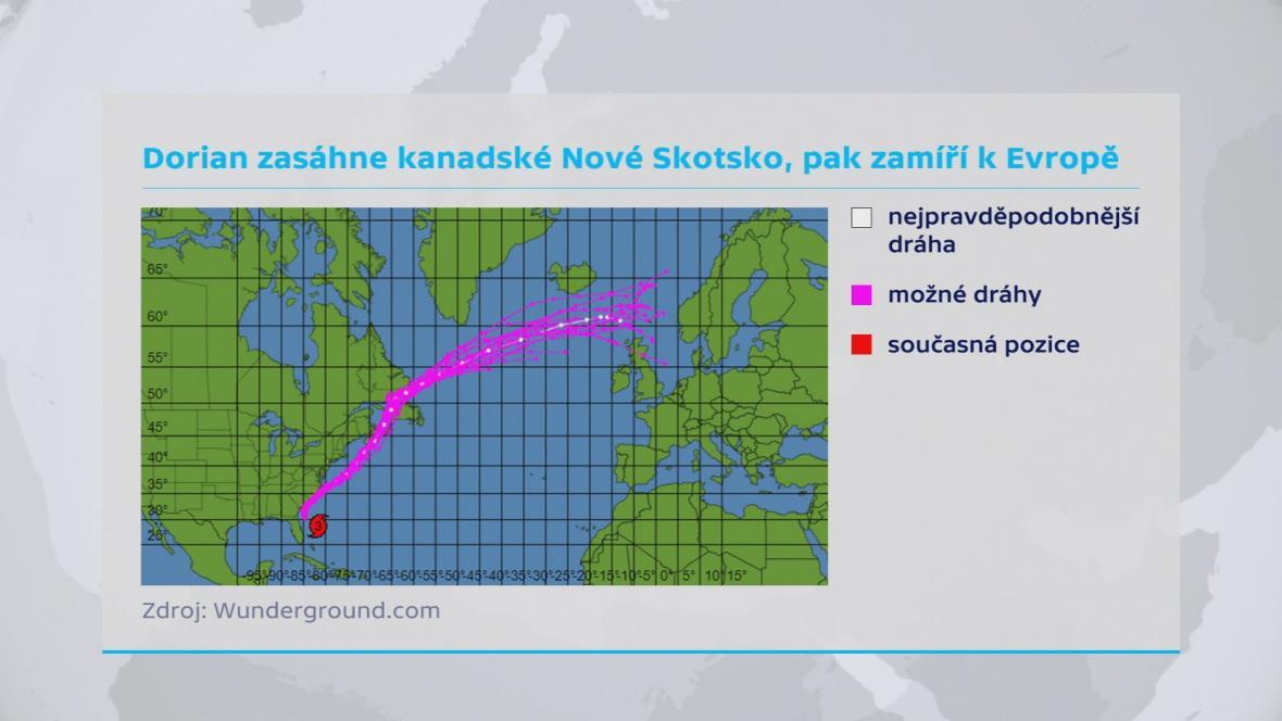 Pravděpodobná dráha hurikánu Dorian