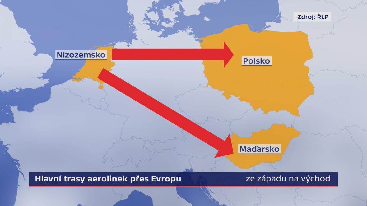 Hlavní trasy aerolinek přes Evropu