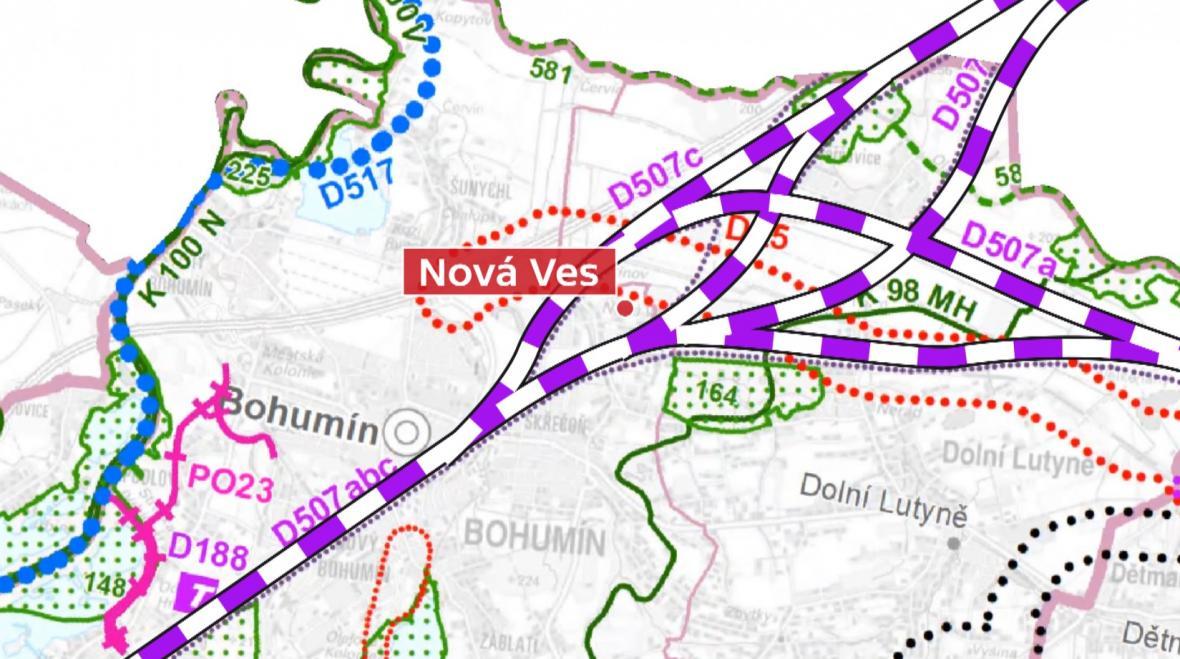 Plánované varianty vysokorychlostní tratě přes Bohumín