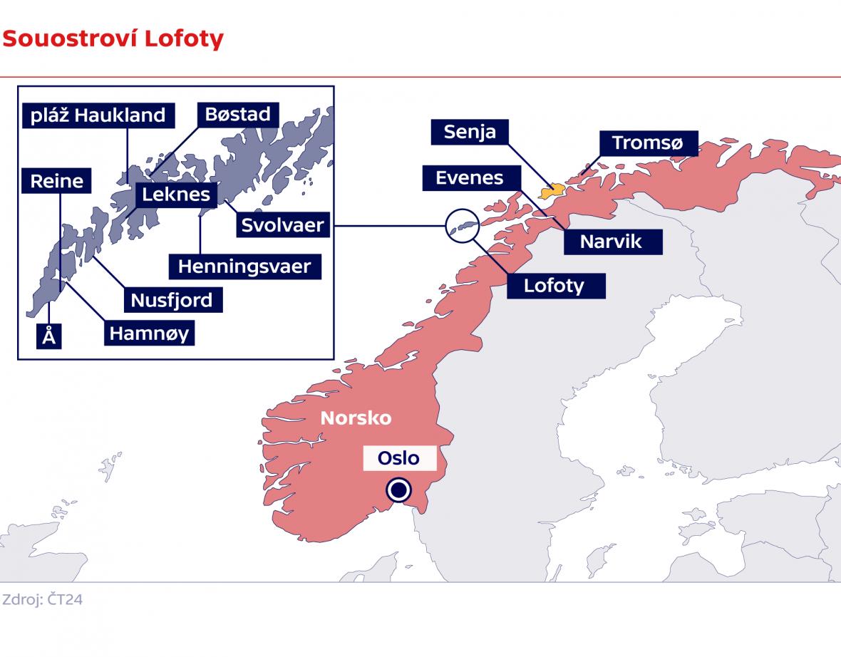 Souostroví Lofoty / verze s norskými znaky
