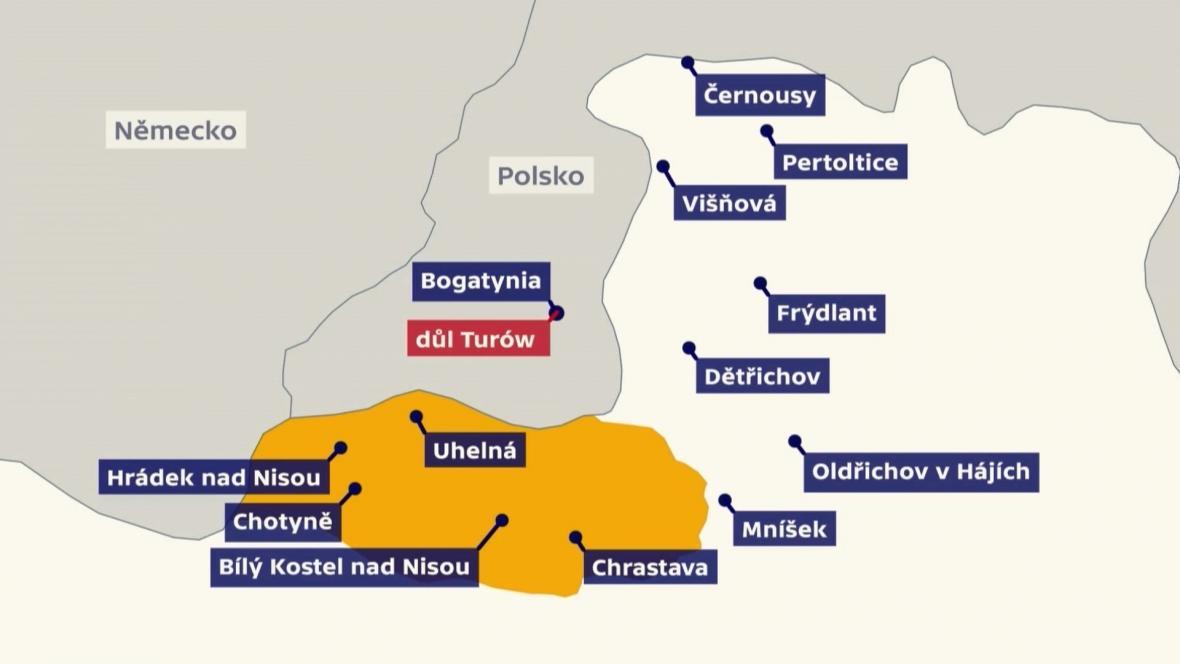 Obce v okolí dolu Turów
