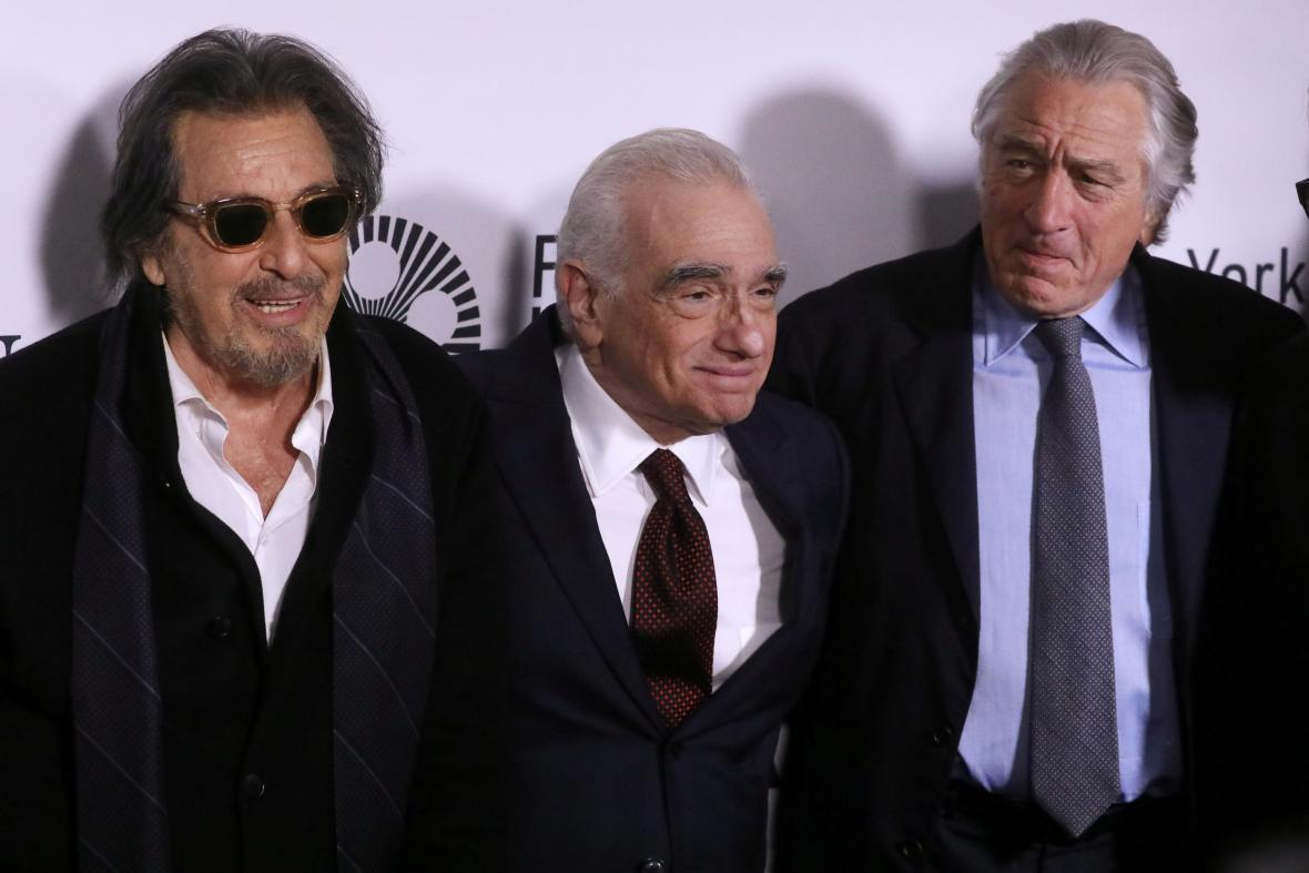 Al Pacino, Martin Scorsese a Robert De Niro na slavnostním uvedení filmu The Irishman