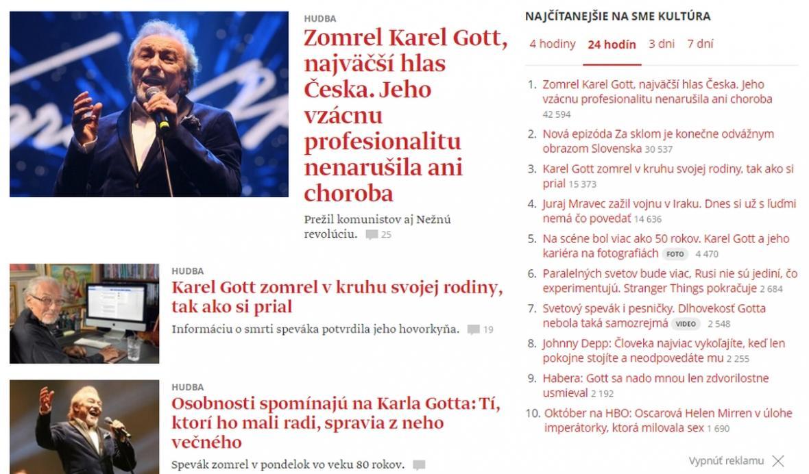 Informace o úmrtí Karla Gotta na slovenském serveru Sme.sk