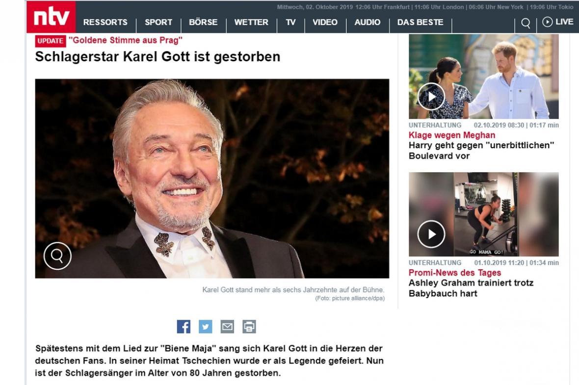 Server německé zpravodajské stanice n-tv informuje o úmrtí Karla Gotta