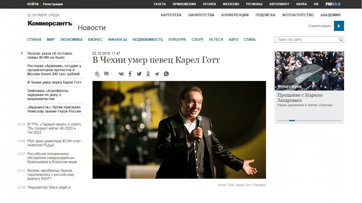 Ruský Kommersant o úmrtí Karla Gotta