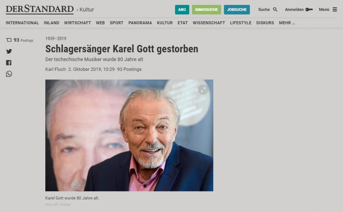 Rakouský Der Standard o úmrtí Karla Gotta