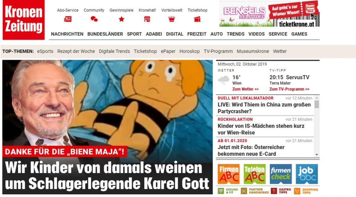 Kronen Zeitung o odchodu Karla Gotta