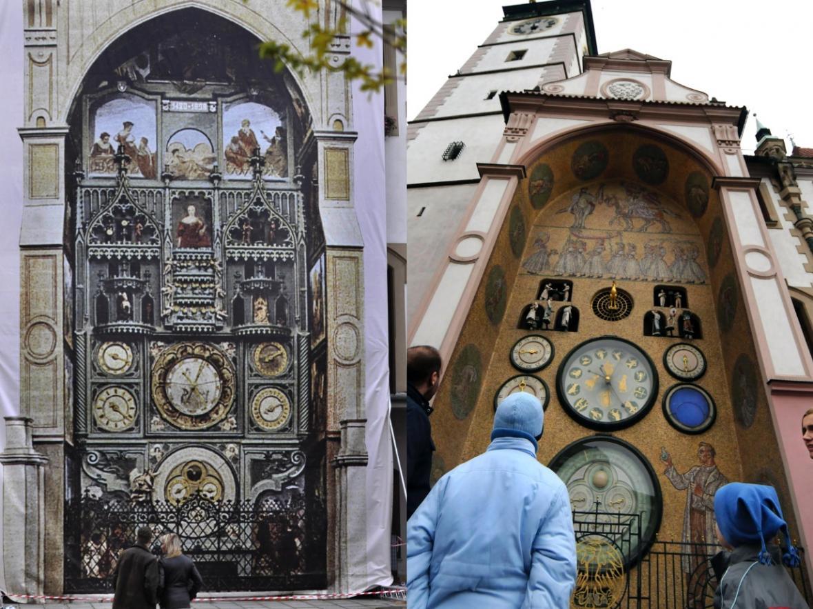Předválečnou podobu orloje připomněla plachta, která orloj zakrývala během jeho nedávné rekonstrukce. Vpravo je současná podoba orloje podle návrhu Karla Svolinského